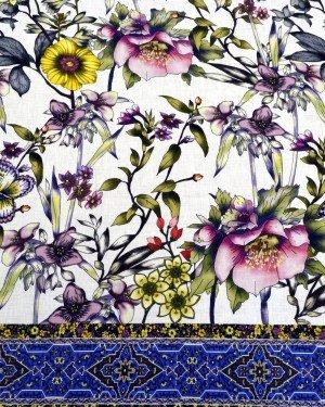 Ткань лен с цветочным узором