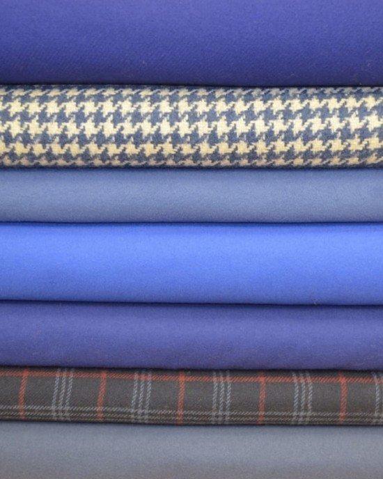 Синие пальтовые ткани