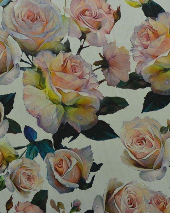 Шелк с цветочным принтом