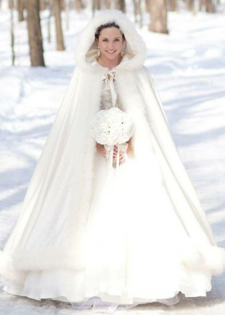 зимнее свадебное платье с накидкой
